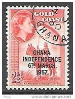 1958 Queen Elizabeth, Independence Overprint, 2-1/2p, Used - Ghana (1957-...)