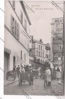 Rare CPA 95 PONTOISE : Rue De La Bretonnerie (vue Sur Panneaux Publicitaires, Tricycles, Charettes) - Pontoise