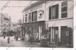 TRES RARE CPA Animée 95 PONTOISE : Rue De L'hôtel De Ville - Vue Sur épicerie Parisienne - Pontoise
