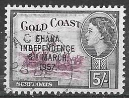 1957 Queen Elizabeth, Independence Overprint, 5sh, Used - Ghana (1957-...)