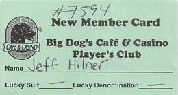 Big Dog's Cafe & Casino - Las Vegas, NV - Paper New Member Card - Casino Cards