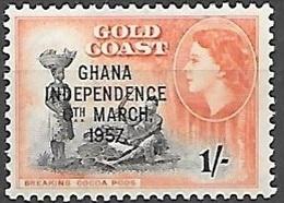 1957 Queen Elizabeth, Independence Overprint, 1sh, Mint Light Hinged - Ghana (1957-...)