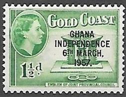 1957 Queen Elizabeth, Independence Overprint, 1-1/2p, Mint Light Hinged - Ghana (1957-...)