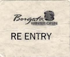 Borgata Casino Atlantic City NJ - Laminated Paper Tournament Re Entry Card (pretty Worn) - Casino Cards