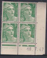 France N° 716A XX Marianne De Gandon  3 F.vert En Bloc De 4 Coin Daté Du 17 . 7 . 47 , 1 Point Blanc Sans Ch., TB - Coins Datés
