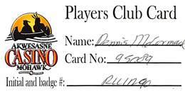 Akwesasne Mohawk Casino - Hogansburg NY - Paper Players Club Card - Casino Cards
