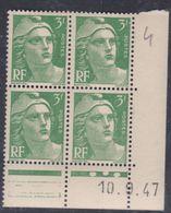France N° 716A XX Marianne De Gandon  3 F.vert En Bloc De 4 Coin Daté Du 10 . 9 . 47 , 3 Points Blancs Sans Ch., TB - Coins Datés