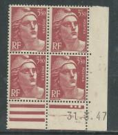 France N° 716B XX Marianne  Gandon  3 F. 50 Rouge-brun En Bloc De 4 Coin Daté Du 31. 3 . 47 , 3 Points Blancs Ss Ch., TB - Coins Datés