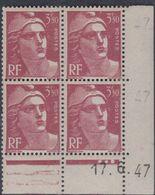France N° 716B X Marianne  Gandon  3 F. 50 Rouge-brun En Bloc De 4 Coin Daté Du 17. 6 . 47 , 3 Pts Blancs Trace Ch., TB - Coins Datés
