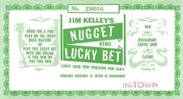 Jim Kelley's Nugget Casino - Reno, NV - 5.25 X 3 Inch Paper Lucky Bet Coupon - Publicidad