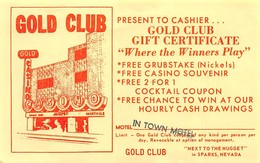 Gold Club Casino Sparks NV - Coupon For Free Nickels, Souvenir, Cocktails And More - Advertising