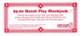 Lady Luck Casino Las Vegas NV - $5 Match Play Blackjack Coupon - Advertising