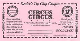 Circus Circus Casino Reno NV - Dealer's Tip Chip Coupon - Advertising