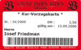 Casino Baden Baden Entry Ticket From 2000 - Casino Cards