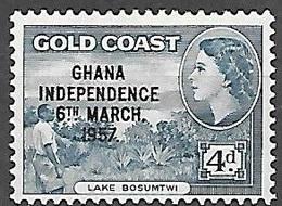 1958 Queen Elizabeth, Independence Overprint, 4p, Mint Light Hinged - Ghana (1957-...)