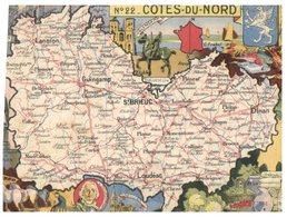 (ORL 335) France - Older Postcard - Map Of Côtes Du Nord - Maps