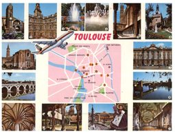 (ORL 335) France - Older Postcard - Map Of Toulouse With Avion A320 Airbus - Maps