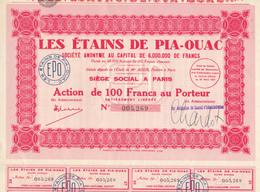 Indochine - Les étains De Pia-Ouac - Action De 100 F / 1930 - Asie