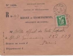 Recouvrement 1929. - 1922-26 Pasteur