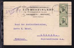 Wappen 5 P. Mit Aufdruck 10 Senkr. Paar Auf Postkarte Ab Helsinki 17.II.20  - Finlande