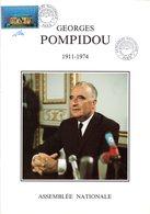 """"""" POMPIDOU Sur LIVRET 1er Jour A4 SIGNE De 30 Pages De L'ASSEMBLEE NATIONALE """".N° YT 2945 + 3 X 2875. Parfait état. FDC - FDC"""