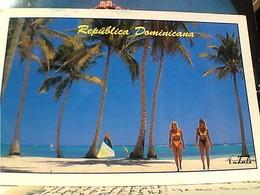 REPUBBLICA DOMINICANA RAGAZZA BIKINI COSTUME STAMP TIMBRE SELO FARO A COLON 10 $ GX5706 - Repubblica Dominicana