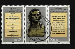 DDR - Mi-Nr. 3254 - 3255 Dreierstreifen Friedrich Schiller Gestempelt (3) - Zusammendrucke