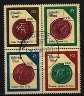 DDR - Mi-Nr. 3156 - 3159 Viererblock Zusammendruck Historische Spiegel Gestempelt MEININGEN - Zusammendrucke