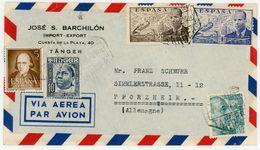 """Spanisch Marokko Luftpostbrief Aus Der """"Internationalen Zone Von Tanger"""" Nach Deutschland - Marruecos Español"""