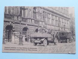 Deutsche Soldaten Vor Dem Rathaus In ANTWERPEN ( N. Sch. Brux.... ) 1915 ( Zie Foto's ) ! - Guerre 1914-18