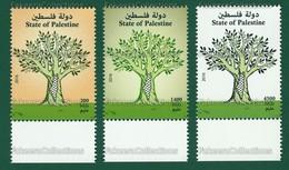 PALESTINE 2016 - PALESTINIAN DEFINITIVES 3v Set MNH ** - Tree, Map, Israel, Keffiyeh Scarf, Definitive - As Scan - Palestine