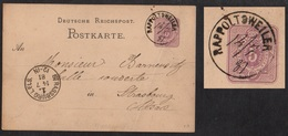 RAPPOLTSWEILER - RIBEAUVILLE - ALSACE / 14-7-1881 DATEUR MANUSCRIT - 1ère DATE CONNUE SUR ENTIER (ref 2079) - Alsazia-Lorena
