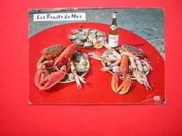 CPM GASTRONOMIE FRANCAISE  FRUITS DE MER  BOUTEILLE MUSCADET  VOYAGEE 1970 TIMBRE FLAMME SABLES D'OLONNE - Recipes (cooking)