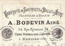 BODEVIN   Fabrique De Soufflets & Balais D'Atre  Usine à HERMES (Oise)  1888 - Bills Of Exchange