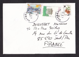 Turkey: Cover To France, 1993, 3 Stamps, Underwater Communications Cable, Telephone (flower Overprint Stamp Damaged) - 1921-... République