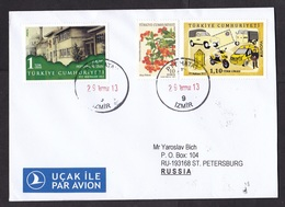 Turkey: Cover To Russia, 2013, 3 Stamps, Post Car, Motorcycle, Transport, Europa, Berries, Air Label (traces Of Use) - 1921-... Republiek