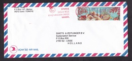 Turkey: Airmail Cover To Netherlands, 1998, 2 Stamps & Meter Cancel, Sea Life, Fish (traces Of Use) - 1921-... République