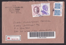 Turkey: Registered Cover To Netherlands, 1997, Mix Of Stamps & Official Service Stamps, R-label, Inflation (damaged) - 1921-... République