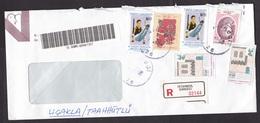 Turkey: Registered Cover, 1998, 6 Stamps, Gymnastics, Rings, Sports, Flower, R-label, Inflation (damaged, See Scan) - 1921-... Republiek