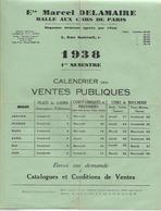 Calendriers Des Ventes Publiques & Enveloppe 1939 / PARIS / M. DELAMAIRE / Halle Aux Cuirs De Paris - France