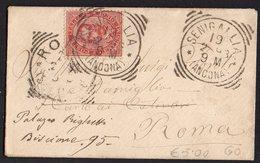 ITALY KINGDOM ITALIA REGNO 1893. SENIGALLIA ANCONA ROMA LETTERA COVER - Interi Postali
