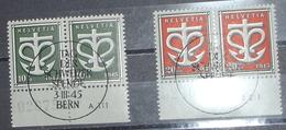 Schweiz Suisse 1945: WIII 19-20 Mi 443-444 Yv 403-404 Paare O TAG DER SCHWEIZER SPENDE BERN 3.III.1945 (Zu CHF 26.00) - Suisse