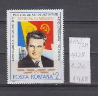 39K113 / 1988 - Michel  Nr. 4428 - Nicolae Ceausescu 70 Years 1st President Of Romania ** MNH Romania Roumanie - 1948-.... Repúblicas