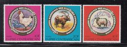 1979 Central African Republic National Husbandry Assoc. Chicken, Sheep, Bull Set Of 3 MNH - Centraal-Afrikaanse Republiek