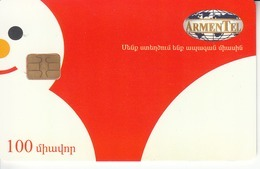 ARMENIA - Happy New Year ,Snowman, ArmenTel Telecard 100 Units, Tirage 20000, Sample No CN - Arménie