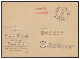 Deutschland (006010) Postkarte Gelaufen Von Metzingen Nach Ulm Am 27.11.1945 Mit Gebühr Bezahlt Stempel - Deutschland