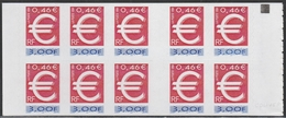3215 C 1a 3F. EURO - Avec CARRE NOIR - € IMPRESSION PARTIELLE - Carnets