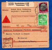 Allemagne - Colis Postal Départ Saarbrucken  -  Pour Seinbouse - 12/12/1942 - Allemagne