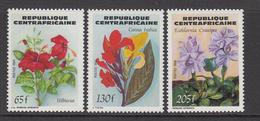 1984 Central African Republic Flowers Hibiscus, Lillies, Hyacinths Set Of 3 MNH - Centraal-Afrikaanse Republiek