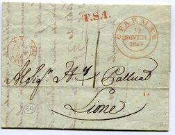 PARME Pour LYON LAC Du 12/11/1849 Transit Sarde + Entrée SARD PONT DE B Taxée à 11 - 1849-1876: Classic Period